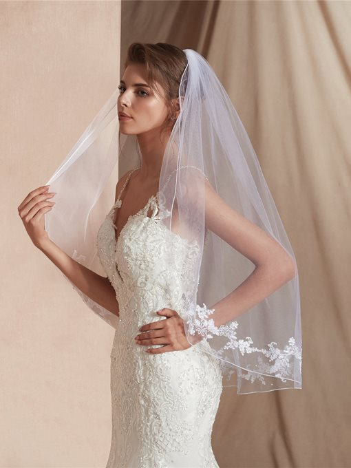 Ericdress Elbow One-Layer Appliques Edge Wedding Veil