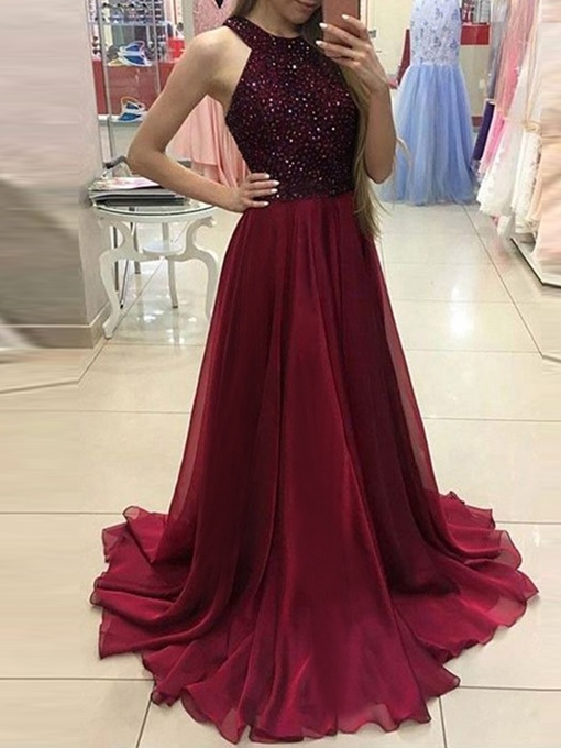 Ericdress Sleeveless Floor-Length Sequins Dress