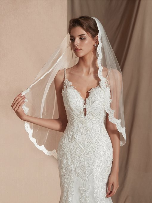 Ericdress Elbow One-Layer Appliques Wedding Veil