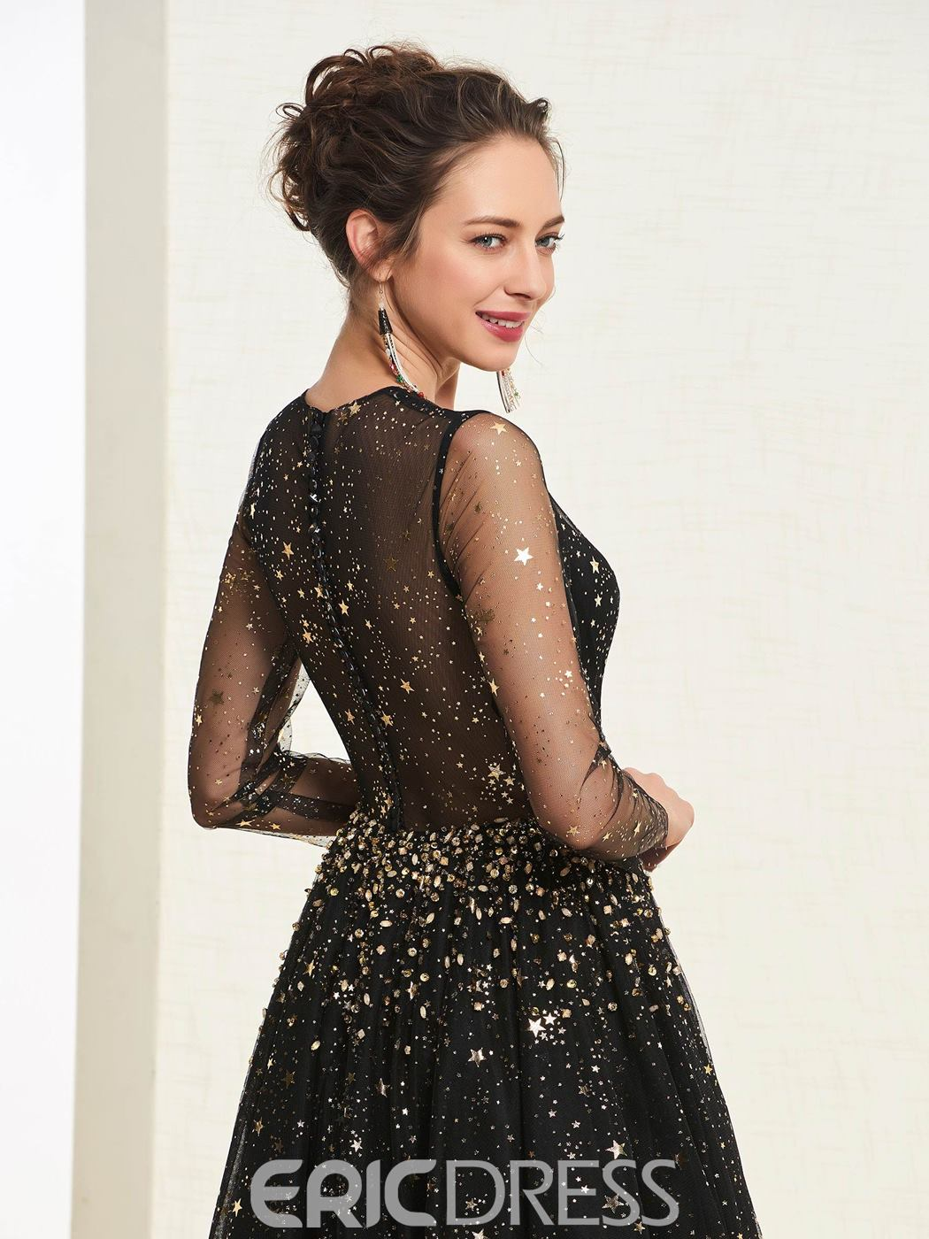 ericdress a-line long sleeves black prom dress
