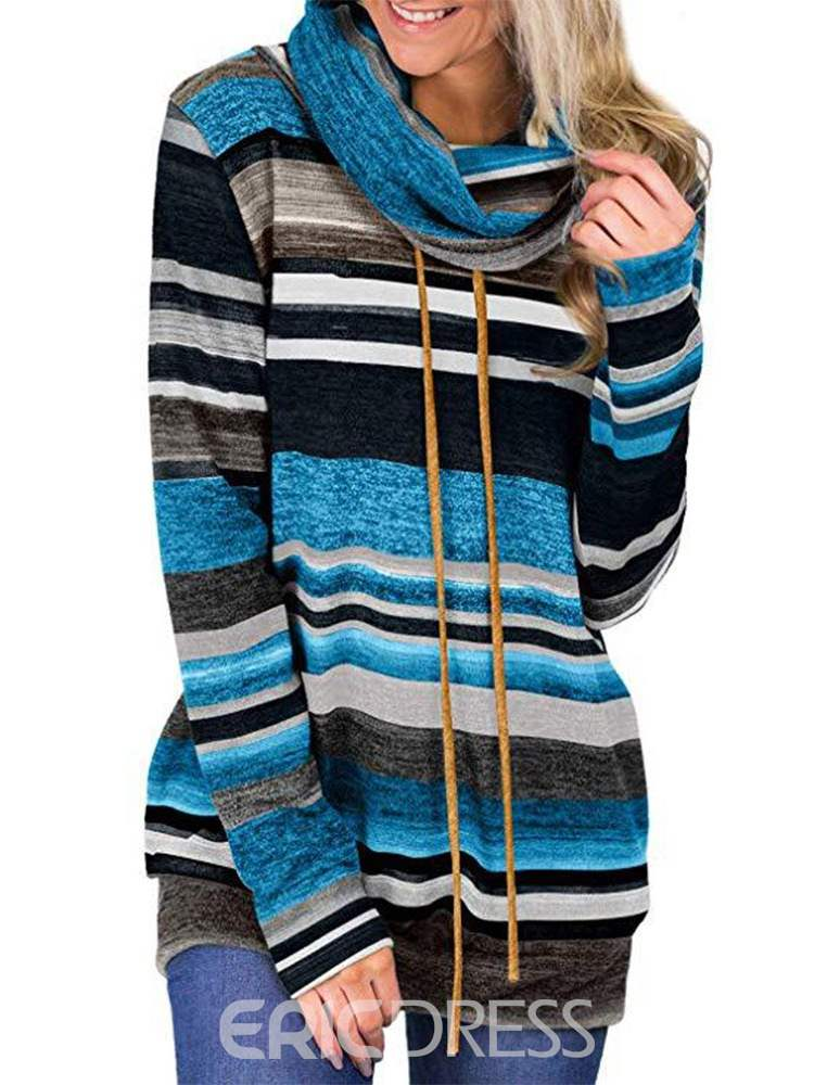 Ericdress Lace-Up Regular Color Block Long Sleeve Standard Hoodie