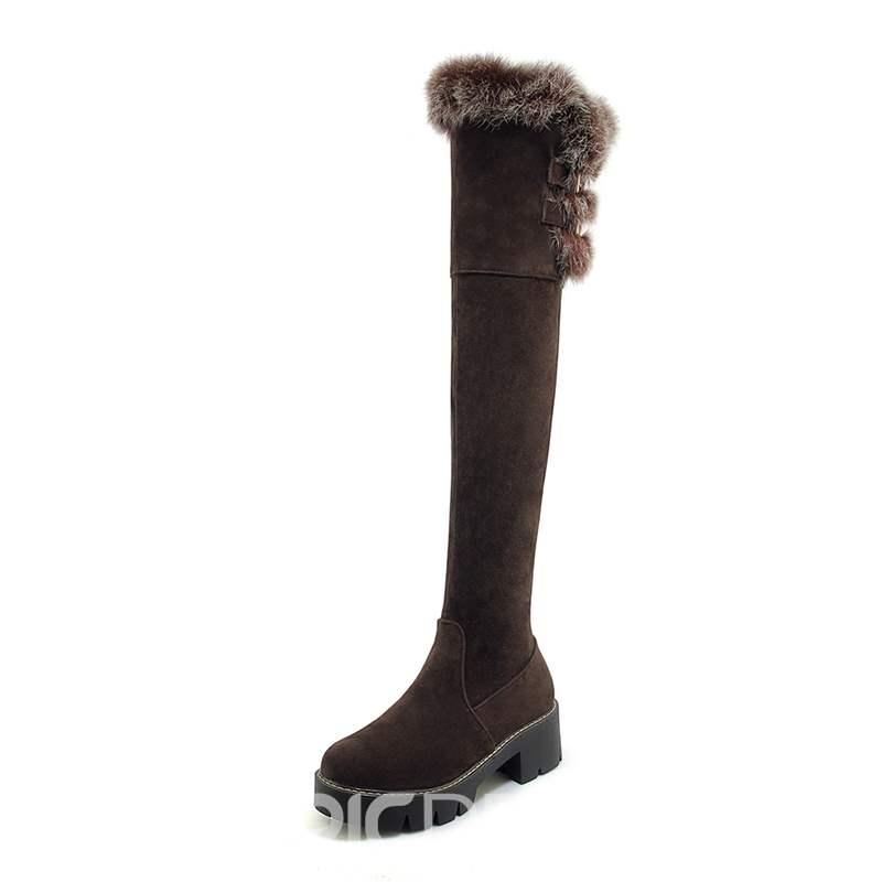 Ericdress Fayx Fur Side Zipper Round Toe Women's Knee High Boots