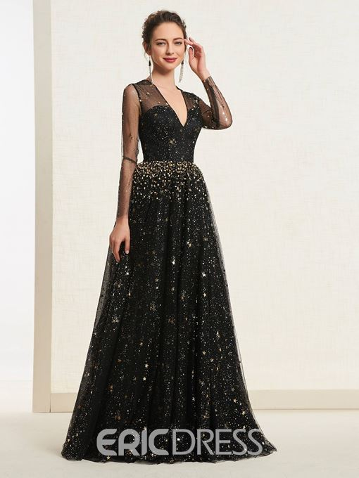 Ericdress Long Sleeves Sequins Beading Black Prom Dress