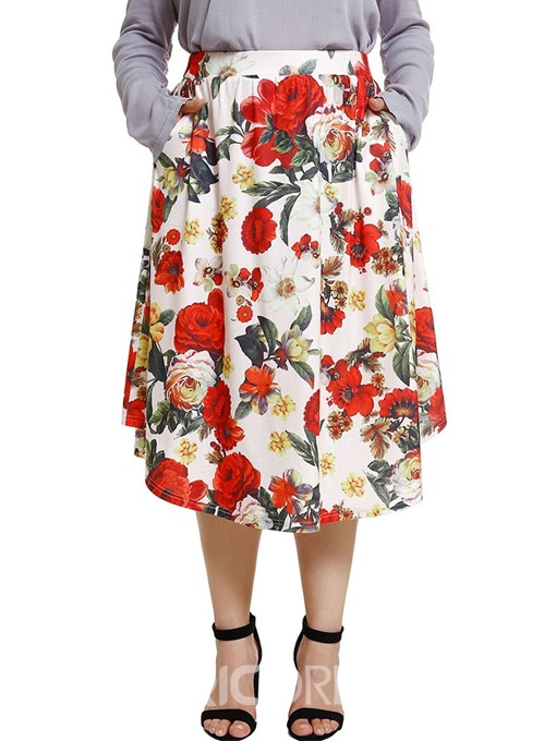 Ericdress Plus Size Floral Mid-Calf A-Line High Waist Skirt