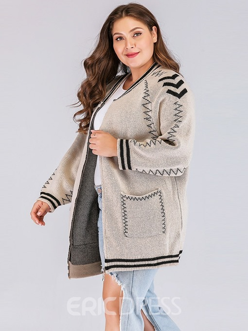 Ericdress Plus Size Pocket Winter Mid-Length Sweater