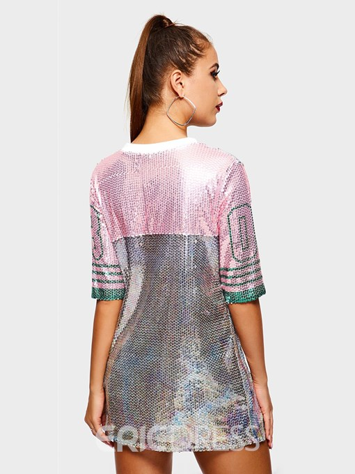 Ericdress Half Sleeve Number Round Neck Party/Cocktail Straight T-Shirt