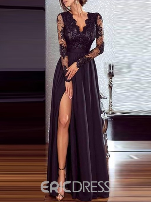 Ericdress Long Sleeve V-Neck Lace Dress