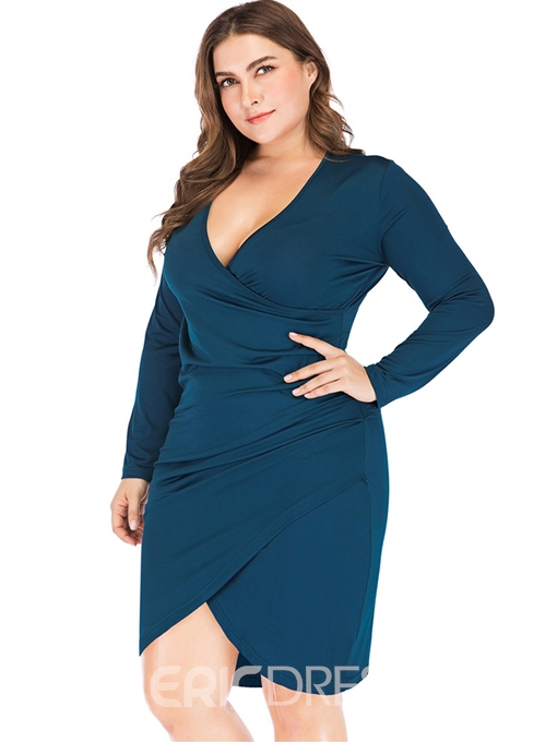 Ericdress Plus Size V-Neck Asymmetric Above Knee Date Night Asymmetrical Dress
