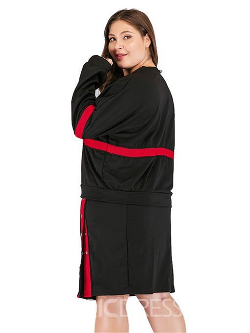 Ericdress Plus Size Color Block Split Patchwork Hoodie And Skirt Two Piece Sets
