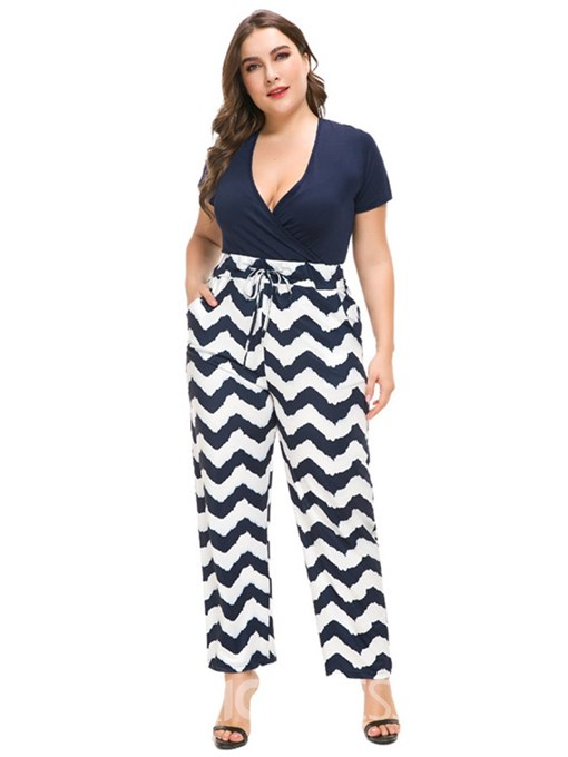 Ericdress Plus Size Color Block High Waist Straight Casual Jumpsuit