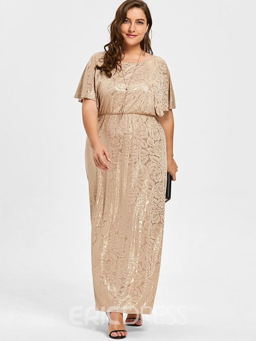 Ericdress Plus Size Ankle-Length Round Neck Elegant Dress