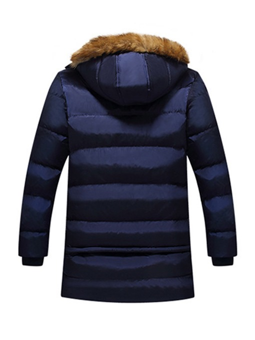 Ericdress Plain Mid-Length Fur Hooded Mens Casual Down Jacket