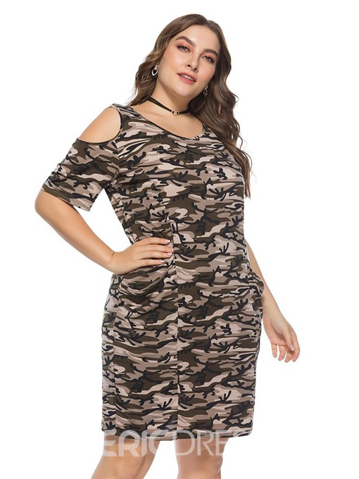Ericdress Plus Size Knee-Length Short Sleeve Print Camouflage Dress