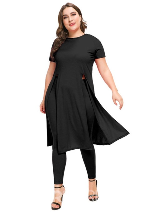 Ericdress Plus Size Split Plain Shirt And Pants Two Piece Sets