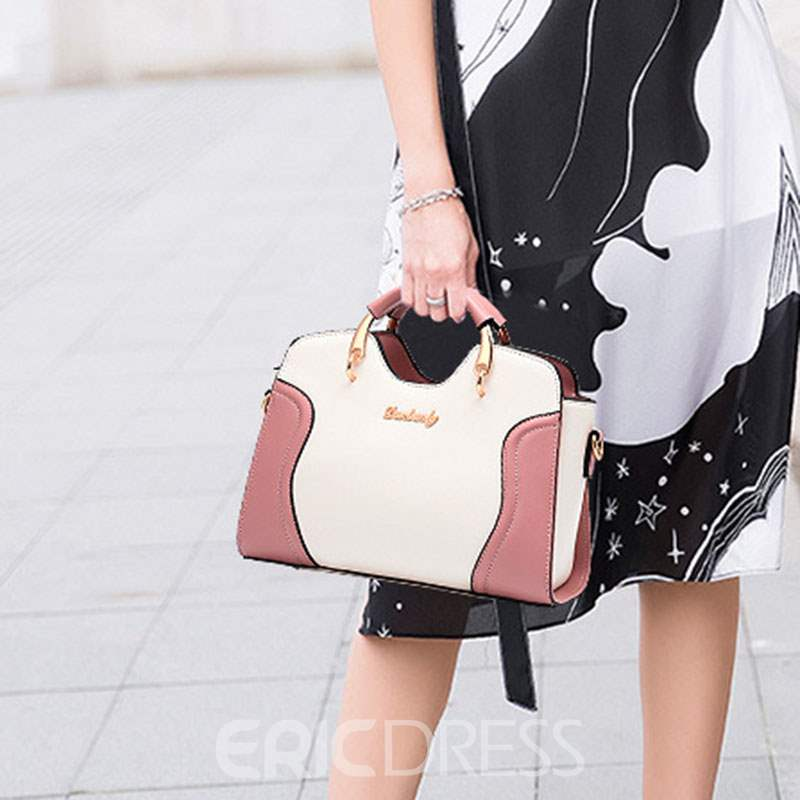 Ericdress PU Color Block Square Tote Bags