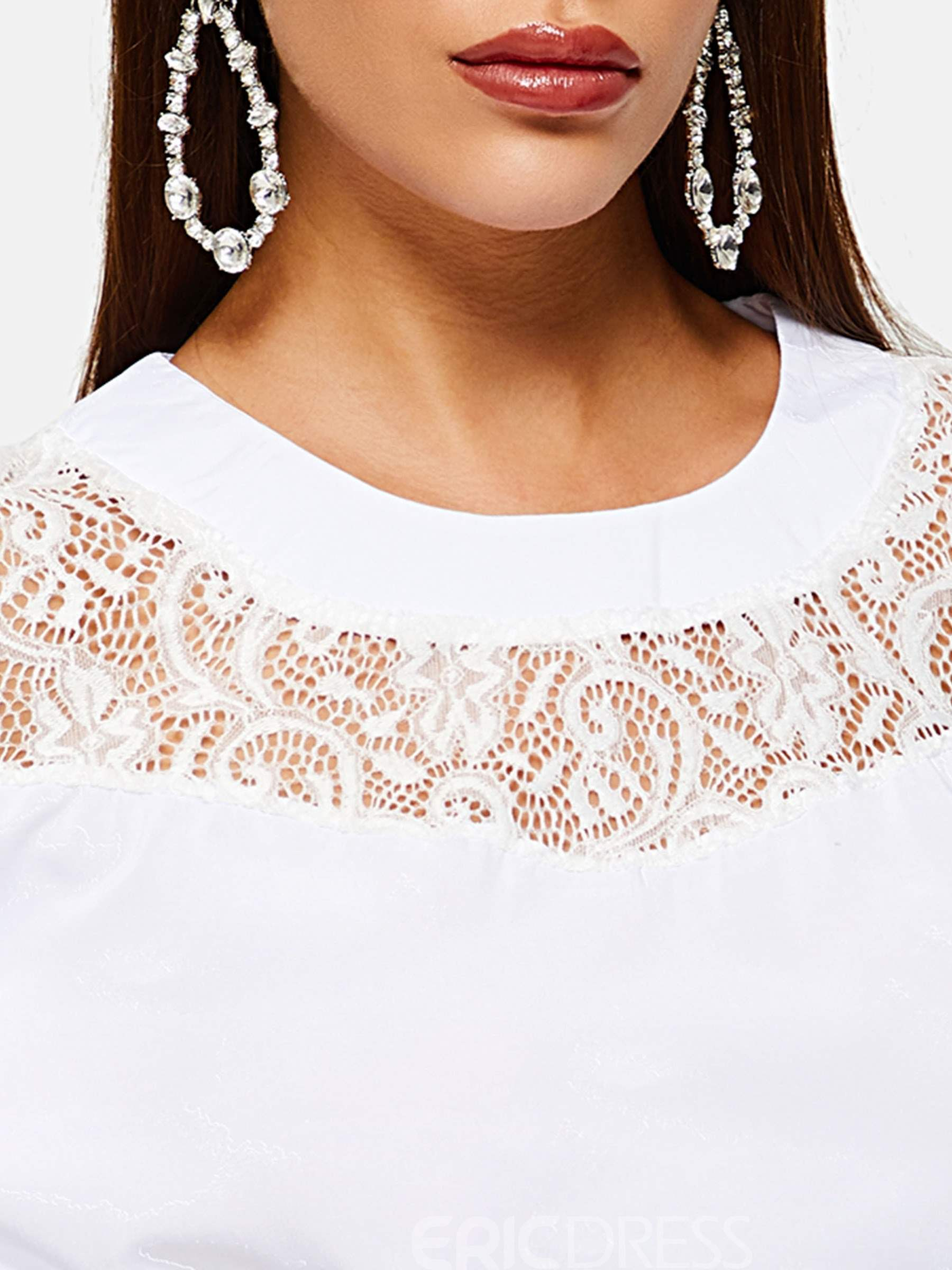Ericdress Lace Flare Sleeve Round Neck Standard Three-Quarter Sleeve Blouse