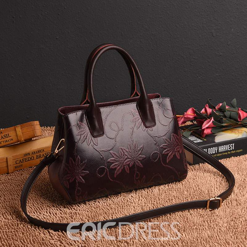 Ericdress Floral Thread PU Square Tote Bags