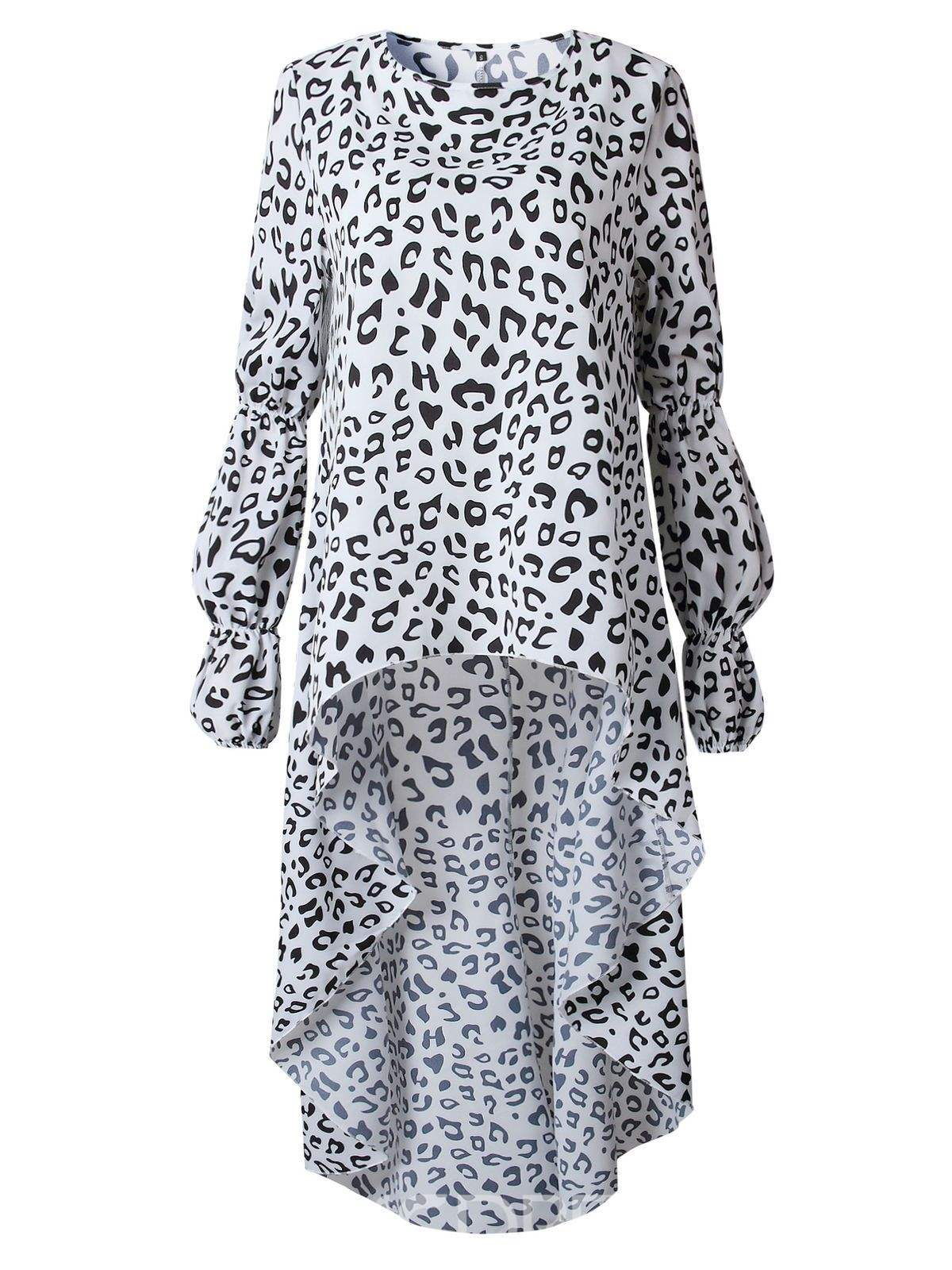 Ericdress Asymmetric Leopard Round Neck Long Long Sleeve Blouse
