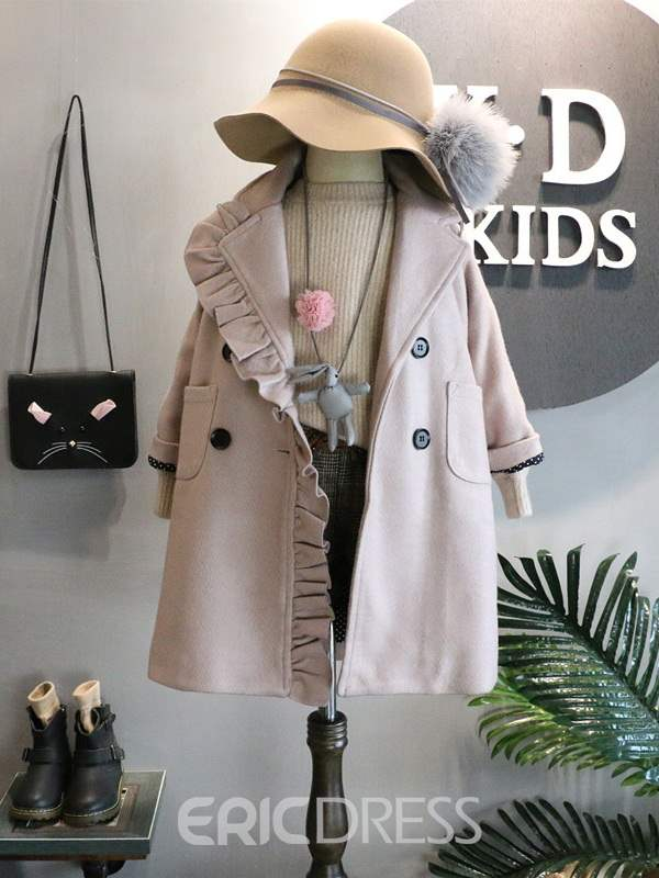 Ericdress Plain Double-Breasted Ruffled Girl's Wool Coats