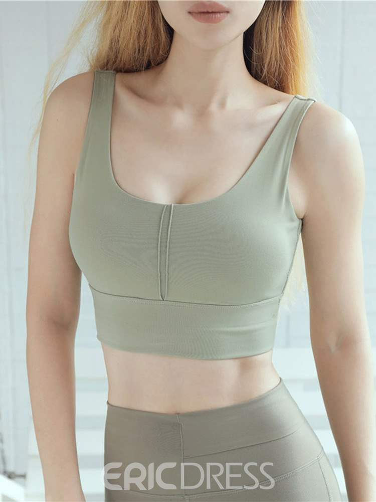Ericdress Plain Non-Adjusted Straps Shockproof Free Wire Sports Bras
