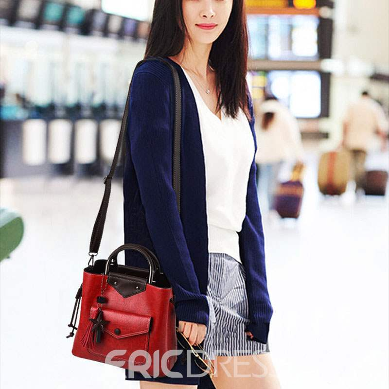 Ericdress PU Belt-Decorated Plain Rectangle Tote Bags