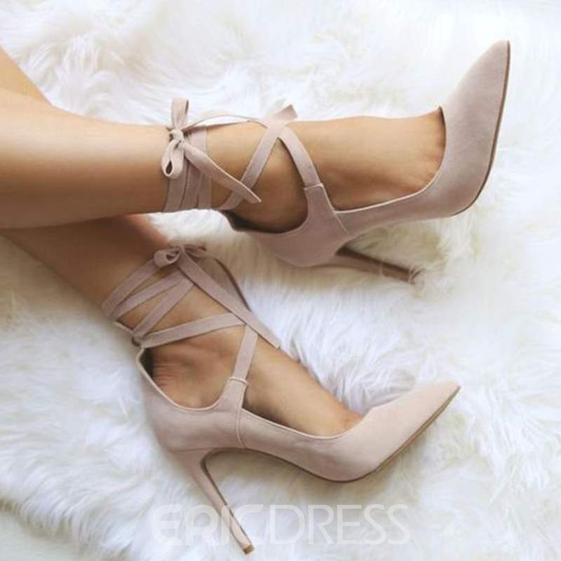 Ericdress Stiletto Heel Pointed Toe Lace-Up Women's Pumps
