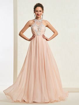 bodenlange a-line scoop prom dress