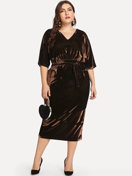 Ericdress Plus Size Mid-Calf V-Neck Plain High Waist Dress
