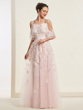 Ericdress Appliques A-Line Short Sleeves Evening Dress