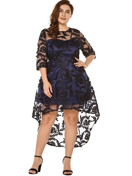 Ericdress Plus Size Embroidery Three-Quarter Sleeve Asymmetrical Pullover Dress
