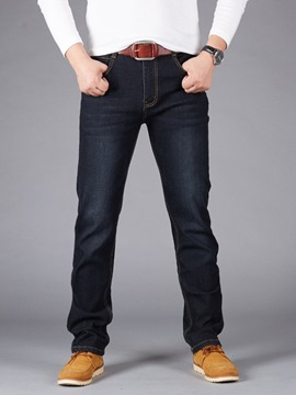 Ericdress Plain Worn Mid-Waist Mens Casual Jeans