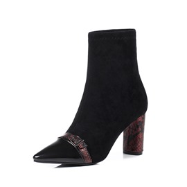Ericdress Pointed Toe Chunky Heel Patchwork Women's Boots