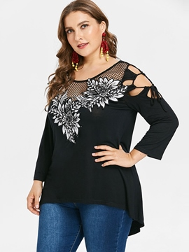 Ericdress Appliques Hollow Plus Size Slim T-Shirt