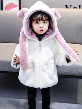 Ericdress Zipper Rabbit Hooded Girl's Coat
