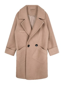 Ericdress Raglan Sleeve Double-Breasted Loose Winter Mid-Length Overcoat