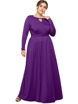 Ericdress Floor-Length Long Sleeve Plus Size A-Line Dress