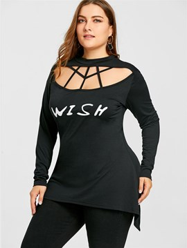Ericdress Mid-Length Letter Plus Size T-Shirt