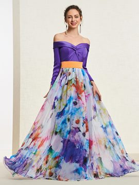 Ericdress Long Sleeves Off-The-Shoulder Print Prom Dress