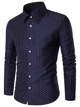 Ericdress Printed Lapel Button Up Mens Single-Breasted Shirt