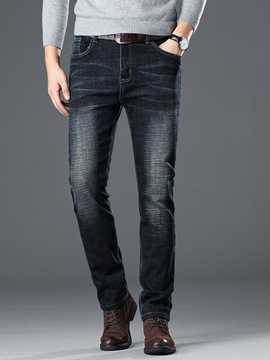 Ericdress Worn Plain Straight Mens Casual Jeans