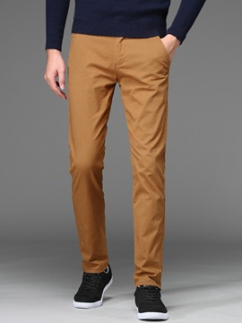 Ericdress Plain Mid-Waist Mens Casual Chinos Pants