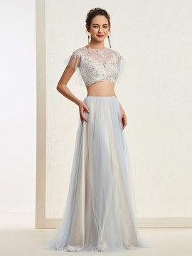Ericdress A-Line Short Sleeves Long Prom Dress 2019