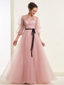 a-line bodenlangen geraffte scoop prom dress 2019