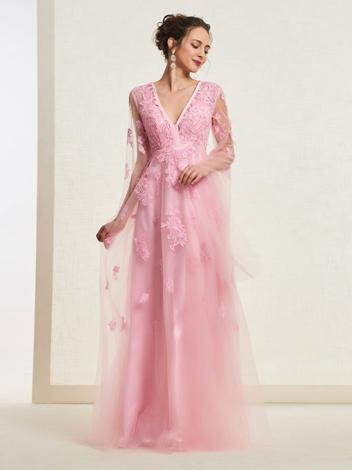 Ericdress V-Neck Appliques Sleeves Prom Dress 2019