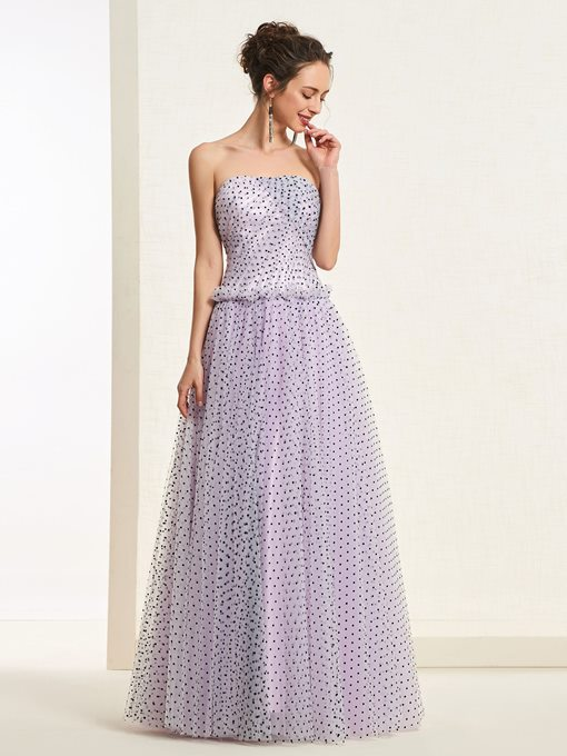 Ericdress Strapless A-Line Dots Tulle Prom Dress 2019