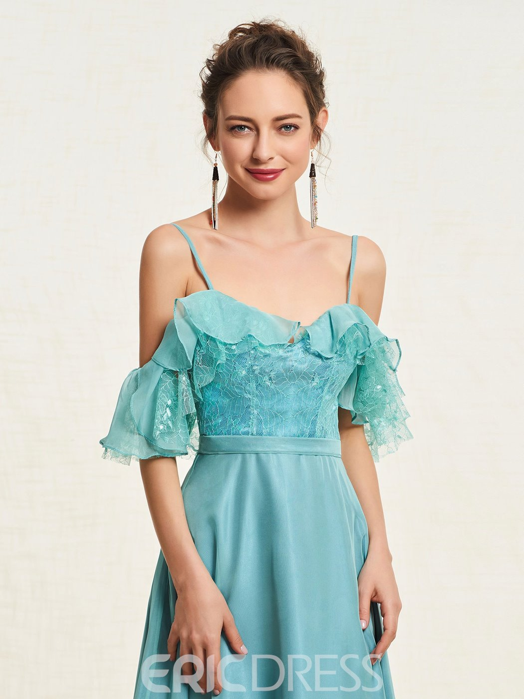 Ericdress A-Line Lace Spaghetti Straps Prom Dress