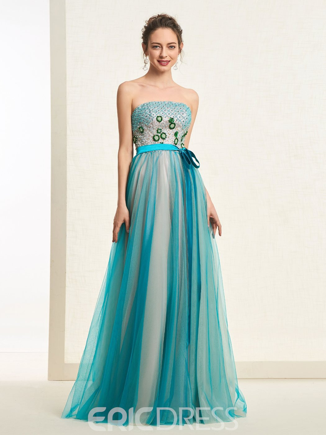 Ericdress Beadings Floor-Length A-Line Prom Dress 2019