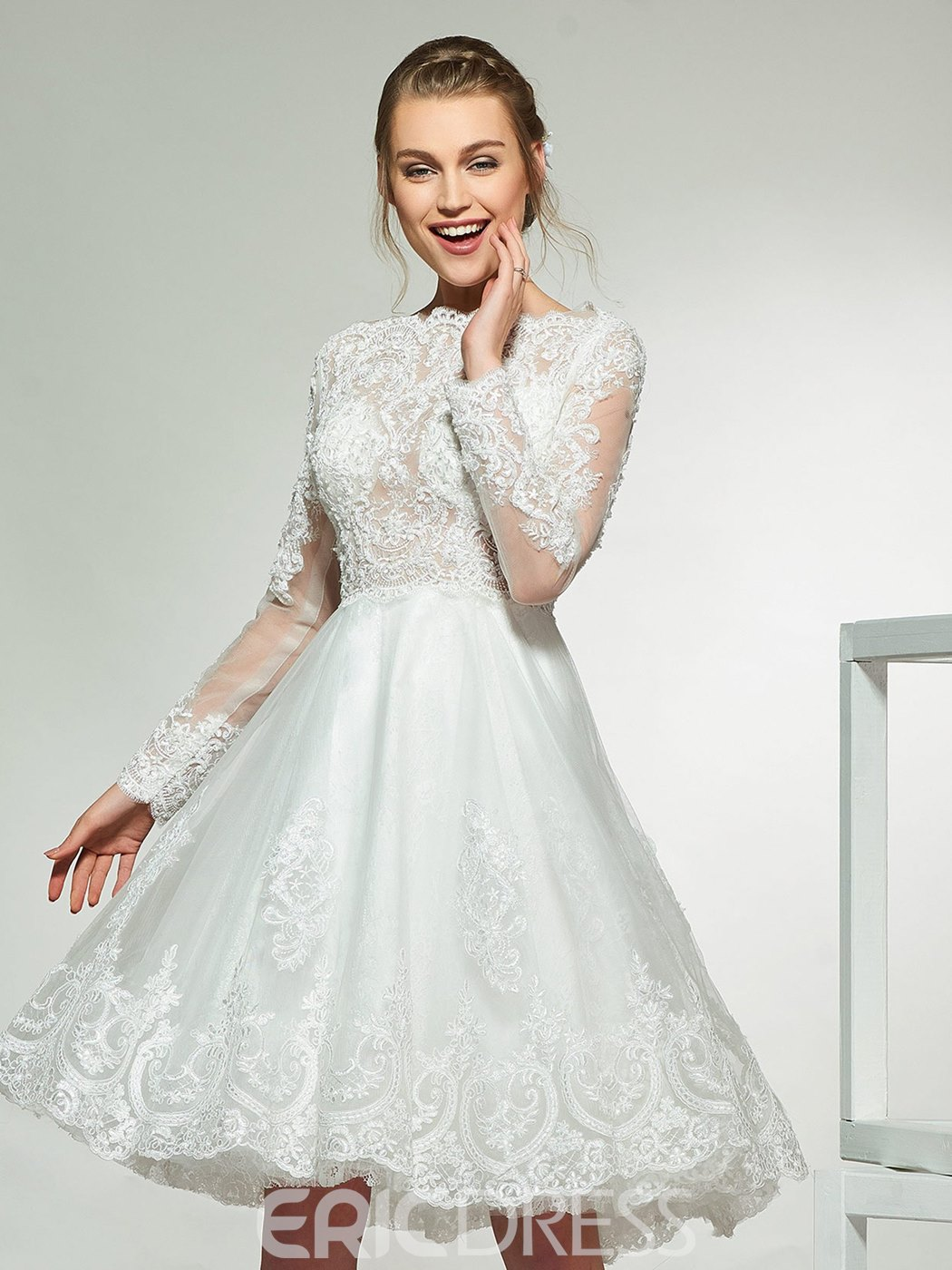 Ericdress Long Sleeves Lace Knee Length Wedding Dress 2019