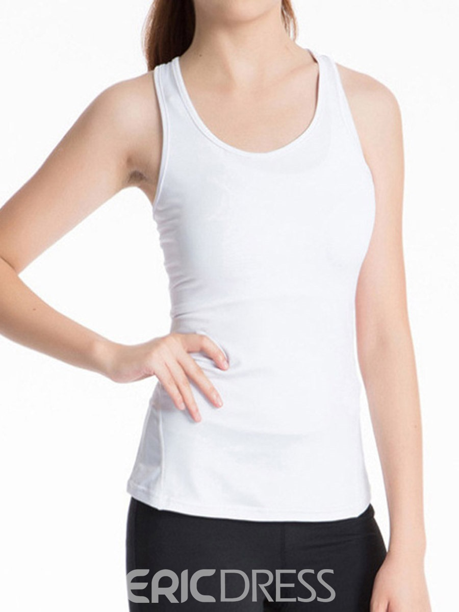 Ericdress Solid Quick Dry Anti-Sweat Vest Pullover Sport Tops