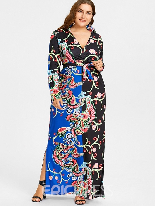 Ericdress Plus Size African Fashion Split V-Neck Floral Dress